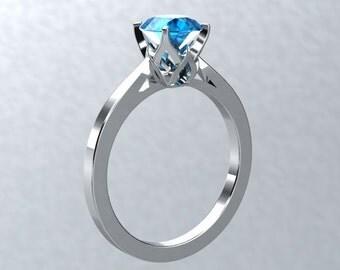Round VVS Blue Topaz Engagement Ring 14kt White Gold Engagement Ring Wedding Ring