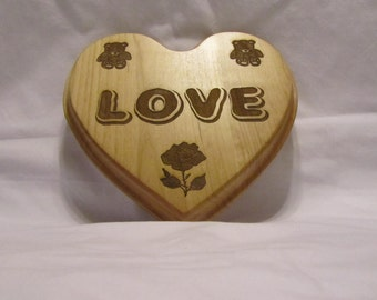 Personalized Solid Wood Heart Plaque - Love