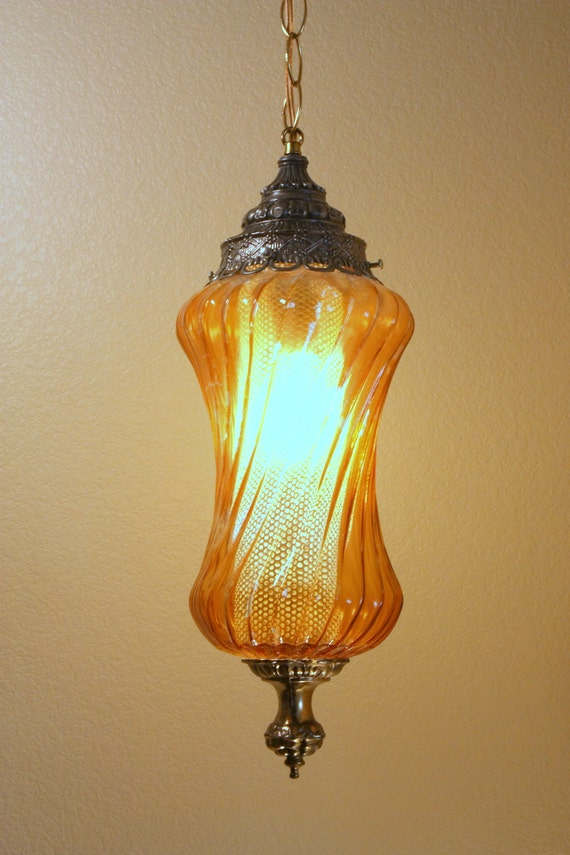 on sale retro hanging swag glass lamp 1970s orange glass brass. Black Bedroom Furniture Sets. Home Design Ideas