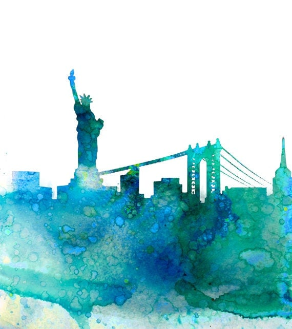 Watercolor New York: Watercolor Skyline Painting