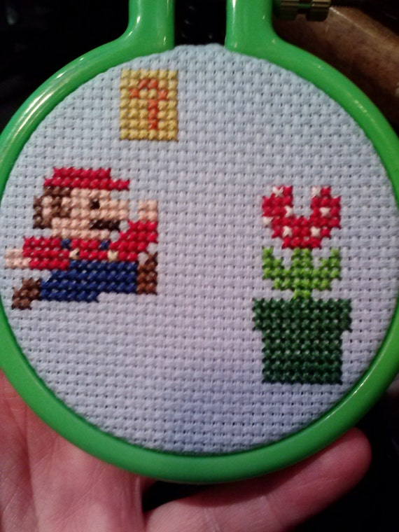 Nintendo Mario Cross Stitch Christmas Ornament!  A great gift!