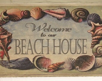 "Wood ""Welcome to our Beach House"" Welcome Sign - Shabby Chic Beach Decor"