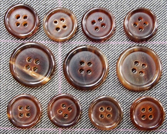 Genuine Brown Horn Buttons Set for suit jacket blazer or