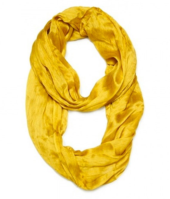 sale gold yellow mustard colored silk infinity scarf
