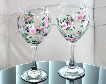 Set of 2 Hand Painted Wine Glasses Blackberries Pink Flowers Green Leaves Hand Painted Glassware Stemware Painted Glass Custom Personalized