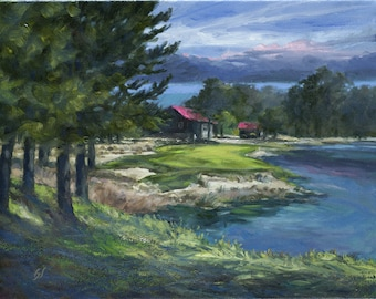 Golf Art. Golf Gift. Golf Painting. Tobacco Road Golf Course, North Carolina, Hole #13. Print of original oil painting.
