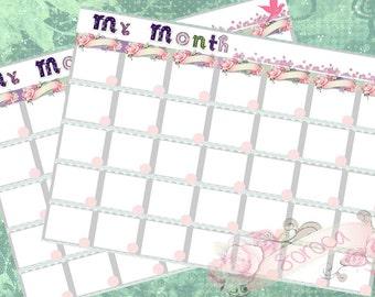 Monthly calendar printable, perpetual calendar,pdf, size A4 , cute design, Instant Download!