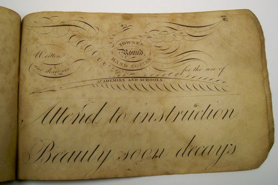 Early 1800s Calligraphy Handwriting Cursive Script Instruction