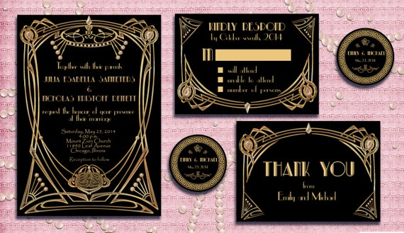 Great Wedding Invites: Great Gatsby Style Art Deco Wedding Invitation Suite With RSVP