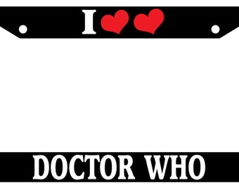 license plate frame i heart heart doctor who auto accessory novelty - Doctor Who License Plate Frame