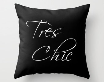Paris Bedroom Decor, Paris Pillow, Tres Chic, Black Velvet Cushion Cover, Gifts for Her, Gifts for Women, Black Throw Pillow, 18x18, 22x22