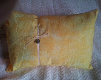 Dream Sleep aromatherapy pillow in Dragonfly print, daffodil yellow, travel size pillow, great home spa and sleep aid.