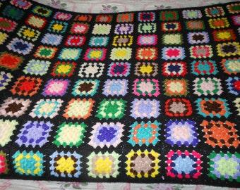 Crochet Granny Square Afghan.