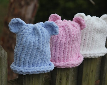 Knitting Patterns For Bernat Baby Sport Yarn : Handmade knitted hat w/ ears for baby/ toddler boy or girl; you choose color ...