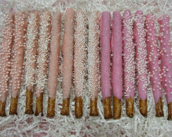 BABY GIRL SHOWER Chocolate Dipped Pretzels*12 Count*New Baby Girl*Gender Reveal*Christening*Baptism*Girl Birthday Party