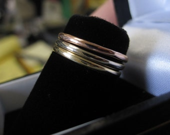 3 Tri-Color Gold Rings, 14K Yellow Gold, 14K White Gold, 14K Rose Gold, Stackable Rings