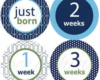 Monthly Stickers for Boys - Green and Blue Just Born to 3 Weeks - Milestone Stickers Boy Stickers Boy Stickers Baby Shower Gift