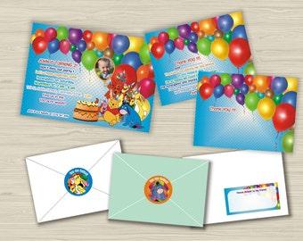 Winnie the Pooh birthday party set-Invitation-Thank you cards-Address label-Envelope seal-Custom invitation-Tigger-Piglet-Owl-Child photo