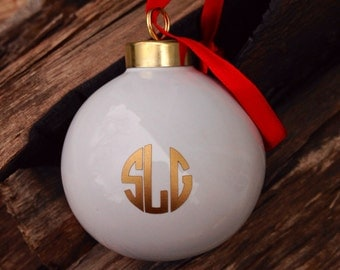 White monogrammed ornament