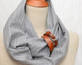 Cotton Infinity Scarf. Chunky Scarf. Natural Cotton. Light striped Gray. Tan leather cuff.