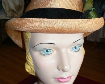 Vintage Straw Hat with Black Flower and Trim by Adolfo II for Saks 5th Ave