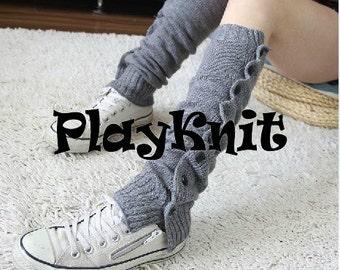 PlayKnit Long Winter Leg Warmers, Blue Gray Coffe Knit Crochet Leg Warmer Socks, Boot Socks