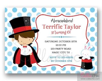 Magician Birthday Invitation PRINTABLE - Magic Invite for Boys