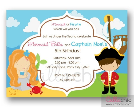 Mermaid And Pirate Birthday Invitation Printable Twin