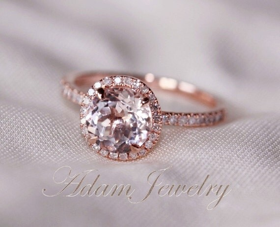 Items similar to Stock Round Cut VS Halo Morganite Ring 14K Rose Gold Diamon