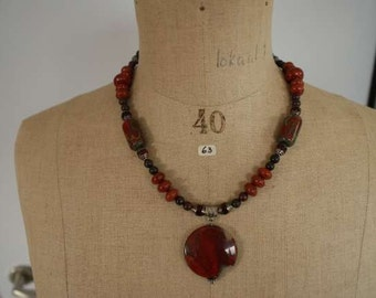 Necklace with multicolor Picasso Jasper pendant around 35 mm, red and Red-Brown Jasper