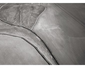 Field Near Petaluma, an Aerial View: A Black and White Photograph 11x15