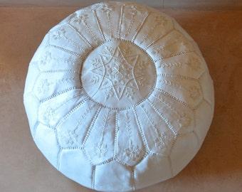 "WHITE  20""x13"" // Moroccan pouf ottoman // round embroidery L"