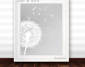 Dandelion art print, girls room decor, baby girl nursery decor, grey, gray nursery, home decor, gray wall art - INSTANT DOWNLOAD