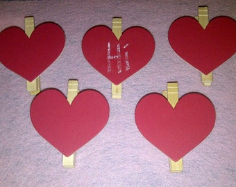 Chalkboard clothespins-  Hearts Set of 5