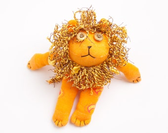 Lion Sock Toy, Stuffed Animal Doll, Small Personalized Gift, Baby Safe