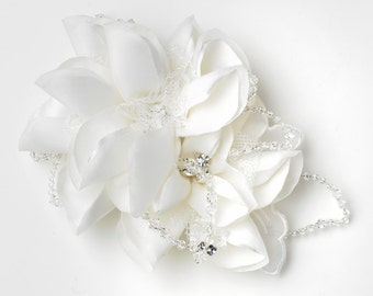 Ivory Matte Satin Sheer Organza Lace Flower Hair Comb with Swarovski Crystal Beads & Rhinestones