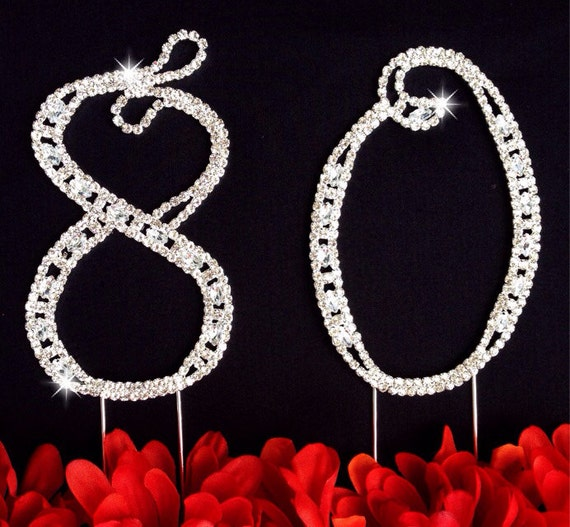 80th Wedding Anniversary Gift Ideas : 80th Birthday Wedding Anniversary Number Cake Topper Large Rhinestone ...