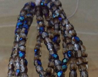 Czech True 2 mm Fire Polish Blue Metallic Iris and Pale Transparent Brown- 50 Beads