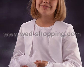 Communion Bolero Satin White Flowergirl bolero jacket FB1015
