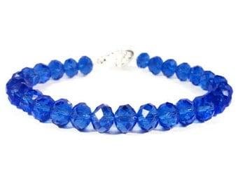 Blue Crystal Bracelet, Cobalt Blue Bracelet, Crystal Tennis Bracelet, Beadwork Bracelet, Beaded Costume Jewelry, Mother's Day Gift Idea