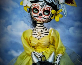 Beautiful Mortal Dia De Los muertos with Devil Sugar Skull Doll PRINT 530 by Michael Brown