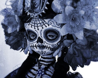 Beautiful Mortal Dia De Los Muertos Goth Blue Doll Doll PRINT 543 by Michael Brown