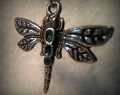 Small Three Gem  Butterfly Pendant - Solid Pewter - Geen Gems