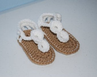 White Crochet Baby Gladiator Sandals/Photography Prop/Baby Shower Gift/Choose Size