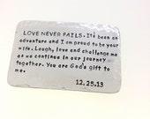 Wallet Insert Card -  Aluminum  -  Anniversary Gift - 10th anniversary gift for man,  Boyfriend gift, husband gift