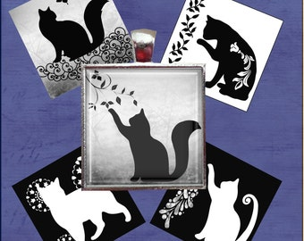 Cats- Black-White-Gray - One Inch Square Digital Collage Sheet for Pendants, Magnets, Paper Crafts