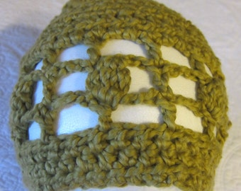 Crochet Hat /Moss Green Soft Cotton Yarn !!!For The Next Month All Hats Are On Sale For 12.00 Yeah!!!