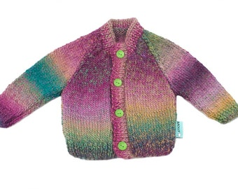 Brazilian amethyst hand made artistic baby cardigan in size 74; 6-9 months old