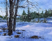 "First Snow - ORIGINAL WATERCOLOR - Painting by Linda Henry - Miniature Watercolor 5""x7"" - Matted - Ready to Frame (#126)"
