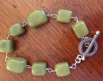 Jade and Sterling Wire Wrapped Bracelet